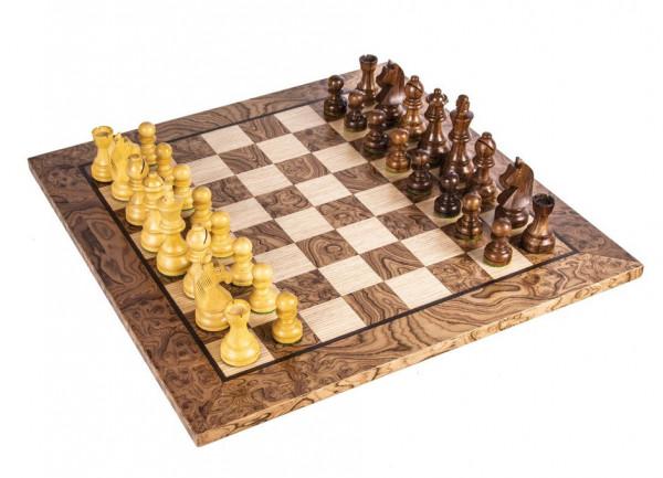 Schachset Nussbaum Burl 85, Staunton Schachfiguren mit Schachbrett 40x40 cm
