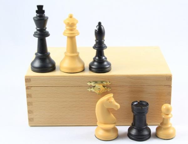 Turnier Schachfiguren - Kunststoff, schwarz/beige, KH 90 mm, in Buchekassette