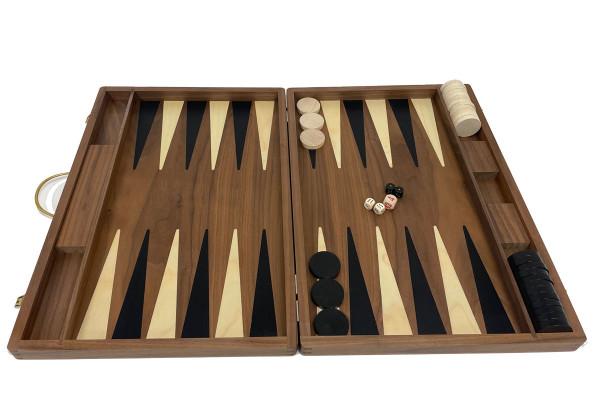Backgammon Koffer in Nussbaumholz, groß 46x31 cm