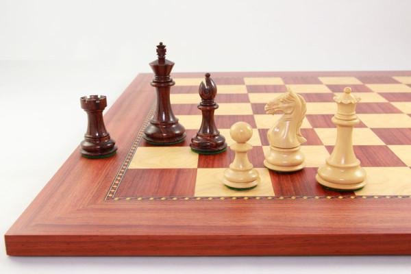 Schachset Exquise Staunton König 89 mm, mit Schachbrett Afrikanisches Padouk, mit Geschenkbox Etui