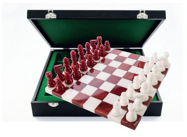 Schachspiel aus Alabaster rot und weiß, mit Geschenkbox Etui aus Kunstleder