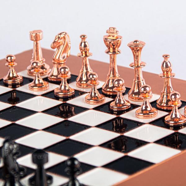 Staunton Schachspiel aus Kupfer und Zinklegierung, mit Geschenkbox
