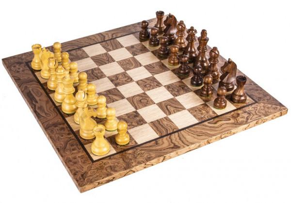 Schachset Nussbaum Burl 95, Staunton Schachfiguren mit Schachbrett 50x50 cm