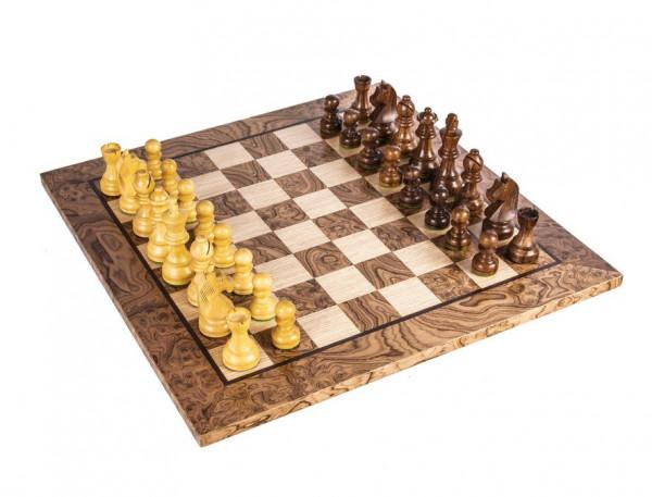 Schachset Nussbaum Burl 65, Staunton Schachfiguren mit Schachbrett 34x34 cm