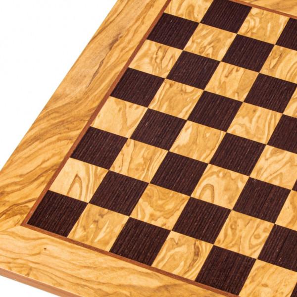 Schachbrett aus Olivenholz und Wenge, 40x40 cm