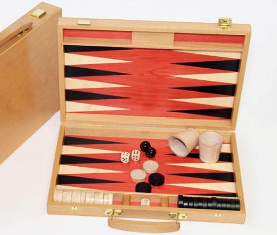 Backgammon Koffer Buche und Birnbaum, sehr präzise Intarsie, 36x25 cm