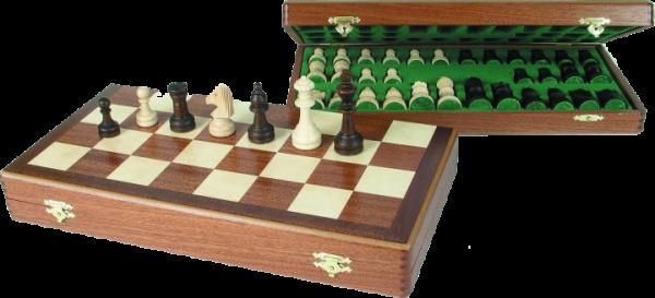Schachkassette aus Mahagoni und Ahorn, Intarsie