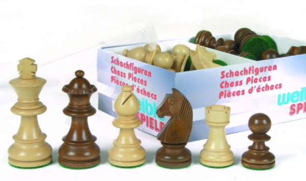 Schachfiguren Staunton braun 76 mm, in Kartonverpackung