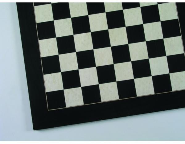 Schachbrett Anigre schwarz und Vogelaugenahorn weiß, Intarsie, matt lackiert, Feldgröße 60 mm