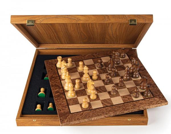 Schachset Nussbaumholz Burl 85, in Geschenkbox, Schachfiguren mit Schachbrett 40x40cm