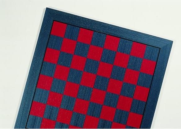 Schachbrett Anigree, Blau und Rot, Feldgröße 50 mm, Intarsie, mit Ader