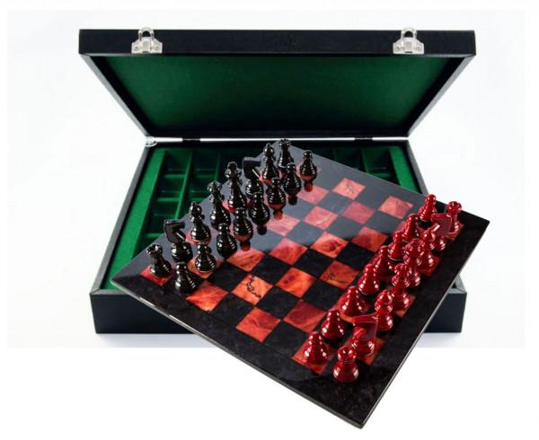 Schachspiel aus Alabaster rot und schwarz, mit Geschenkbox Etui aus Kunstleder