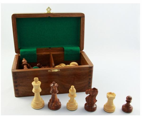 Staunton - Schachfiguren Jubiläums-Edition, Königshöhe 83 mm, handgeschnitzter Springer, gewichtet