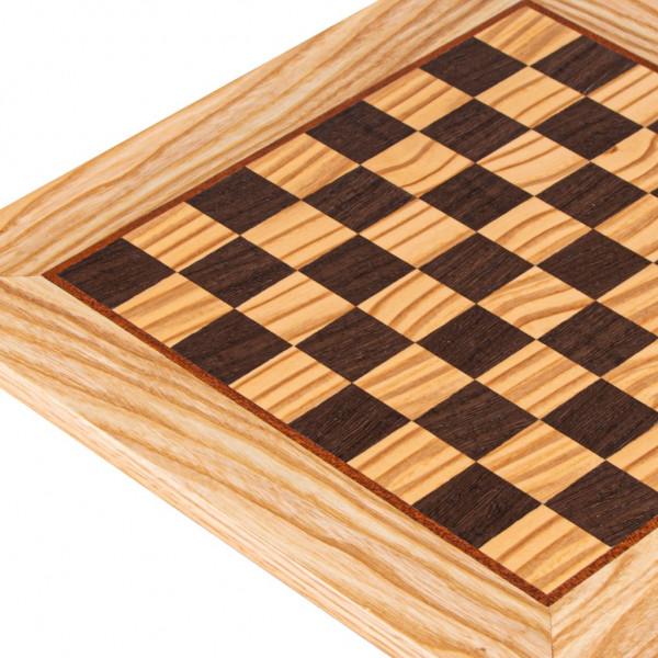 Schachbrett aus Olivenholz und Wenge, 34x34 cm