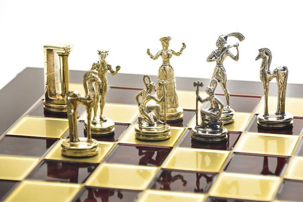 Minoan Schachset, Metall Schachfiguren mit Schachbrett in Geschenkbox