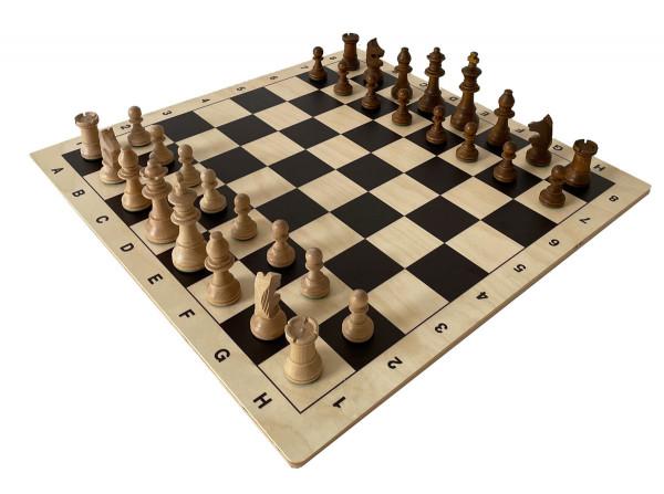 Schachset Staunton Holzfiguren Königshöhe 95 mm, mit Schachbrett aus Birkenholz