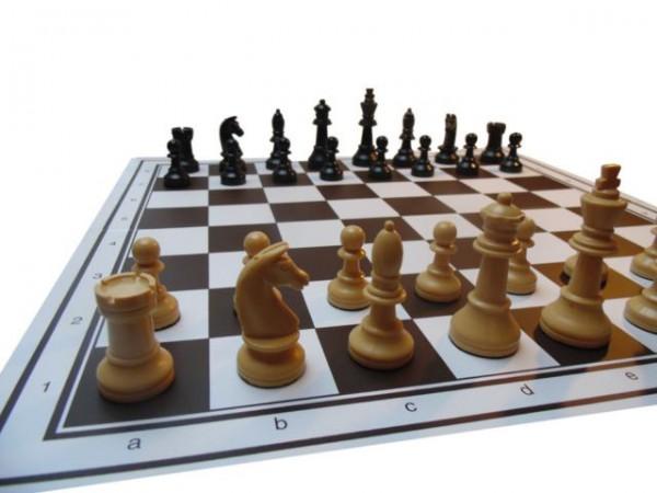 Turnier Schachfiguren mit Schachbrett Kunststoff, König-H90 mm, in Buchekassette