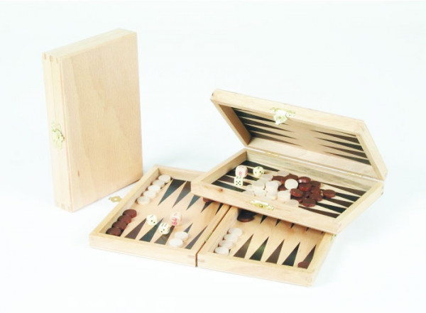 Reisebackgammon aus Buche Natur, Backgammon aus Holz, 19x12cm