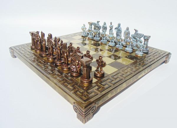 Spartan Schachfiguren aus Zinklegierung und Schachbrett mit Geschenkbox