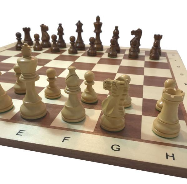 Schachset Classic Staunton Tournament, Schachfiguren mit Schachbrett aus Holz