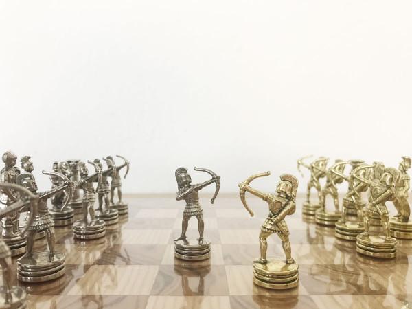 Schachset Nussbaumholz Bogenschützen Schachfiguren und Schachbrett, mit Geschenkbox