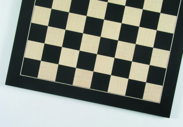 Schachbrett Anigré schwarz und Ahorn, Intarsie, matt lackiert, Feldgröße 50 mm