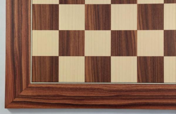Schachbrett Mongoy und Ahorn, Intarsie, matt lackiert, Feldgröße 50 mm