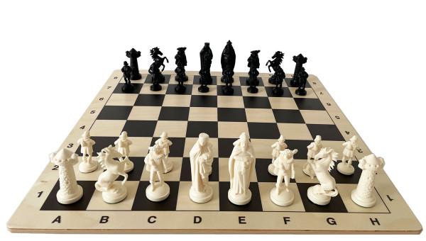 Schachset Mittelalter Ritter Schachfiguren Kunststoff und Schachbrett aus Holz