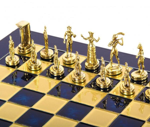 Minoan Krieger, Schachfiguren mit Schachbrett in Geschenkbox