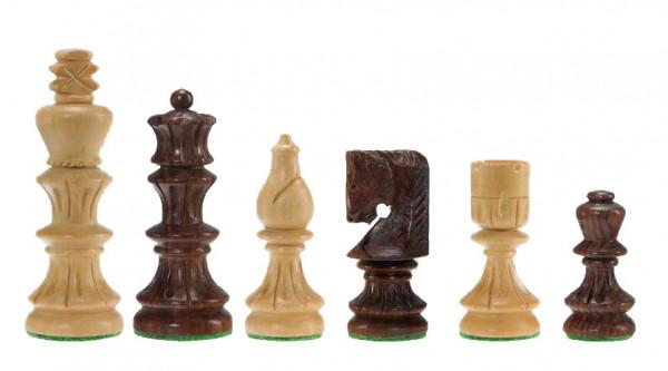 Schachfiguren Säulenform aus Sheesham/Buchsbaum, handgeschnitzt, KH75mm
