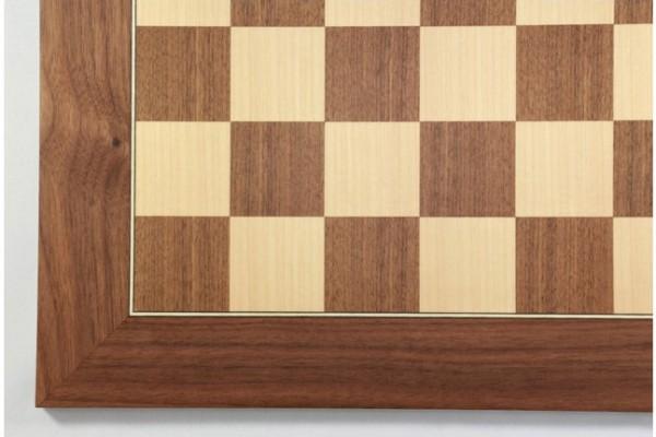 Schachbrett Nußbaum und Ahorn, Intarsie, matt lackiert, Feldgröße 50 mm