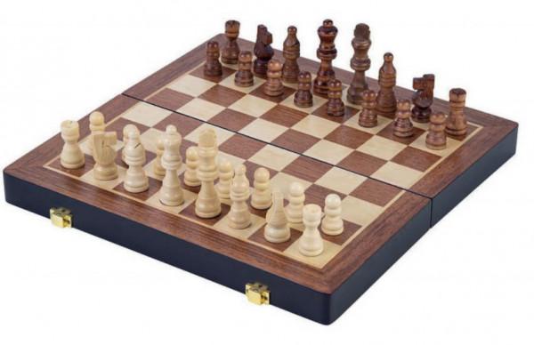 Schachkassette Nussbaum und Esche, Schachfiguren König 69 mm aus Holz braun und natur