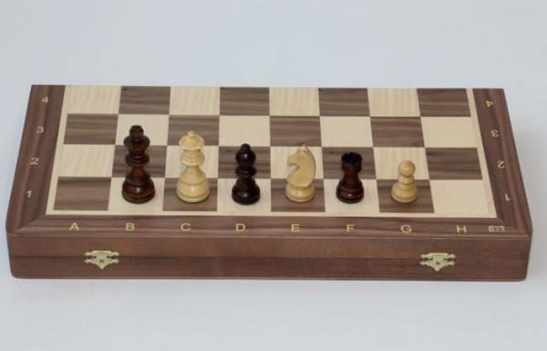 """Schachkassette """"Premium"""" aus Nussbaum und Ahorn Intarsie, König 76 mm"""