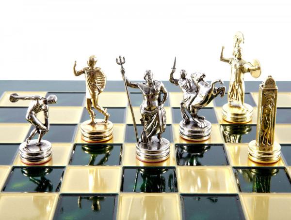 Olympia Schachset, Metall Schachfiguren und Schachbrett mit Geschenkbox