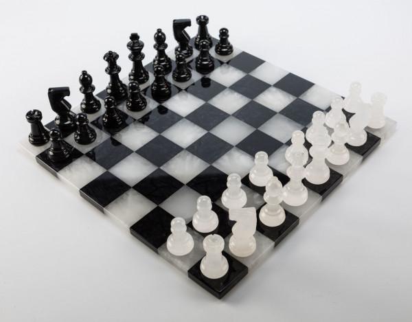 Schachspiel aus Alabaster schwarz und weiss, KH=75mm