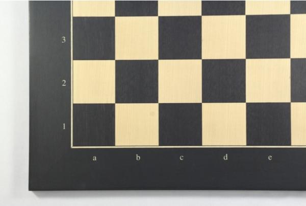 Schachbrett Anigré schwarz und Ahorn mit Zahlen und Buchstaben, Feldgröße 55 mm