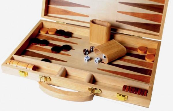 Backgammon Koffer aus Buche und Nussbaum Holz,38x25 cm