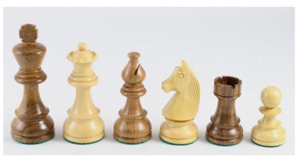 Schachfiguren aus Akazienholz und Buchsbaum 115 mm, beschwert