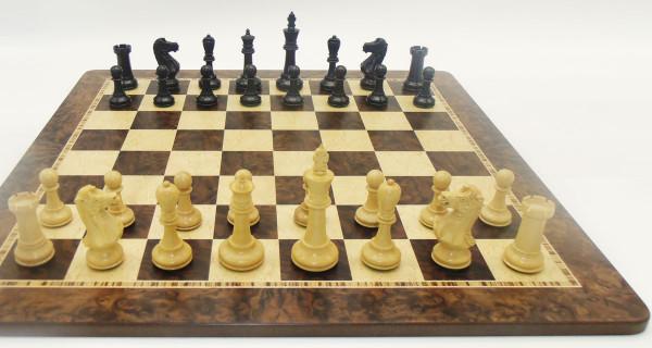 Schachset Strategik Black-Staunton, Schachfiguren mit Schachbrett