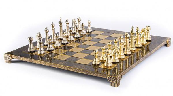 Schachspiel Staunton-Schachfiguren Bron aus Metall und Schachbrett 44x44cm mit Geschenkbox
