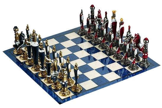 Firenze Schachset, Schachfiguren mit exklusiven Schachbrett hochglanzlackiert