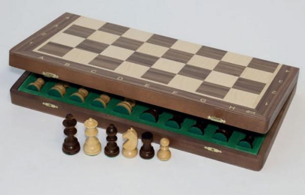 """Schachkassette """"Premium"""" aus Nussbaum und Ahorn Intarsie, König 63 mm"""