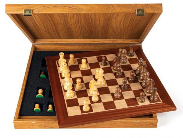 Schachset Mahagoni 95, mit Geschenkbox, Schachfiguren mit Schachbrett 50x50cm