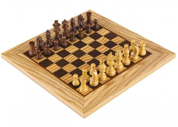 Schachset Olivenholz Staunton 85, Schachfiguren mit Schachbrett 40x40 cm