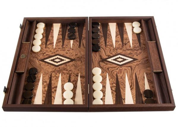 Backgammon Set aus Nussbaumholz Burl 30x20 cm, in Geschenkbox