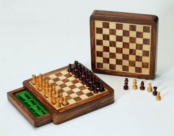 Schachkassette aus Massivem Akazienholz, Magnetschachspiel Königshöhe 33 mm