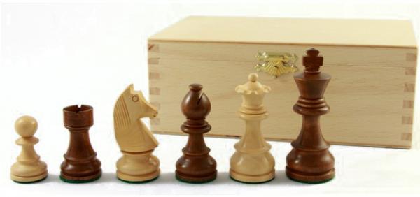 Schachfiguren kaufen: 89 mm, beschwert Staunton braun , Figuren in Buche-Kassette