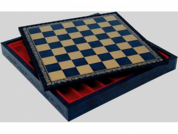 Schach-Kassette aus Salpa-Leder blau/glodfarben