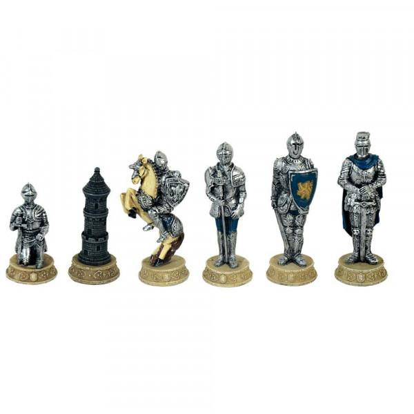Schachfiguren Mittelalter, Ritter rot vs blau aus Kunststein