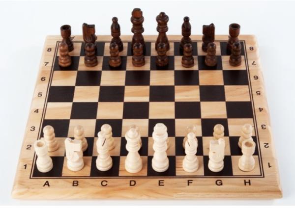 Schachset aus Holz - 29 x 29 cm - Schachspiel mit Zahlen und Buchstaben